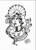 blackbird with victorian lady by ShellyZTrueheartInk