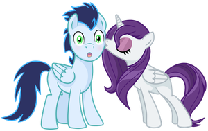 Glitter star and Soarin - Pony OC by pepooni