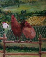 Mrs Hen and Mr Rooster by EugeneTheCounter