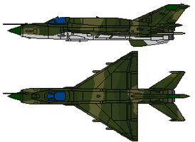 MiG-21 Top and Side View by gryphonarts