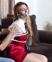 Elegant woman with tie and Tape gag 9 by darkhause