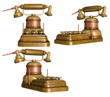 Steampunk Telephone PNG Stock by Roys-Art