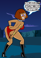 Halloween Maddie as Vampirella: Wedgie Problems by grimphantom