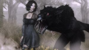 A girl and her werewolf by Vicki73