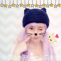 knit-look crochet cat hat by hellohappycrafts