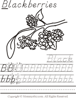 Mommysbiz |B-Blackberries-BlackPreschool Worksheet by DanaHaynes