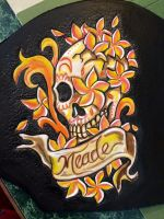 Lady leather sugar skull plumeria holster by Katiefiorito