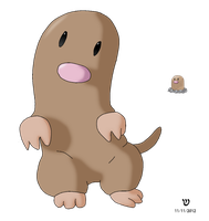 Diglett - Full Body Concept by Kenliano