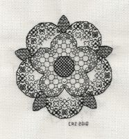 Blackwork Tudor Rose by gatchacaz