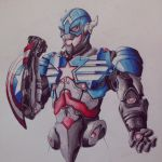 Ultron plus Captain America by oO-sam-Oo