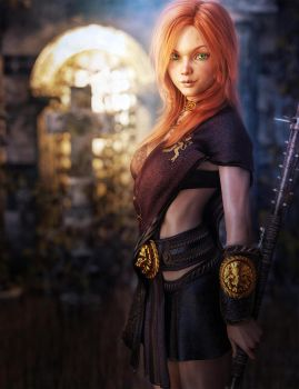 Green-Eyed Redhead Girl, Fantasy Art by shibashake