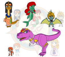 Assorted Chibis - AU Prehistoric Times 2 by Dragon-FangX