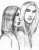 Severus Snape and Lucius Malfoy sketch by Atanapotnia