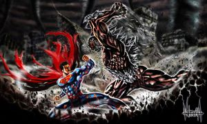 Superman vs Doomsday by zharpblades