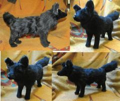 Black Wolf Plush Toy Realistic by Jarahamee