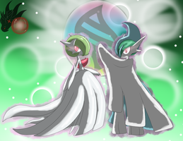 Mega Gallade, Mega Gardevoir ( We fight as one! ) by ColorDrake