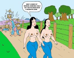Susy and Pamela Topless Walking on countryside by loenror