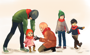 Sasusaku Family: Snow by steampunkskulls