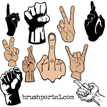 Hands and fingers gestures Photoshop brushes by Brushportal