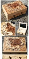 Pyrography Wolf Bear Box by BumbleBeeFairy