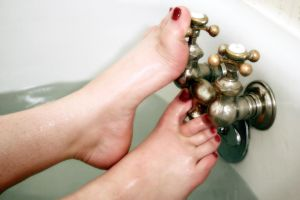 Red Wet Foot Fun Too by FootFetish