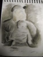 My Father and my Younger Brother as a Baby by InsanePaintStripes