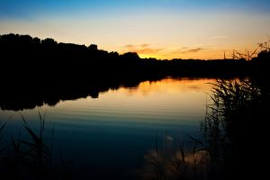 lake at sunset by LastingMemor1es