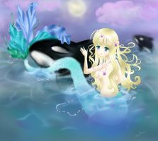 The Water Goddess and a Whale by PeppermintRain
