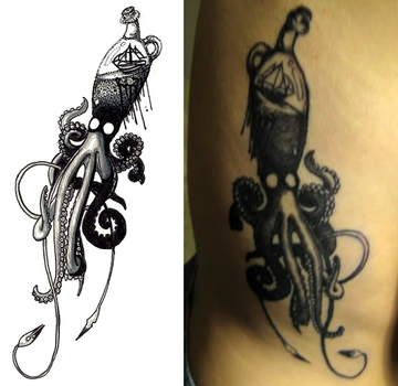 Squid Tattoo by dakki-dono