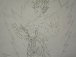Goku powering up by Claudio-Agrezzi