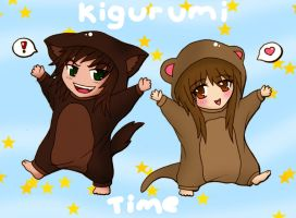 Kigurumi Time! Otter and Dingo by Samuraiflame