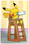 Baby Pikachu with a bottle by Veemonsito