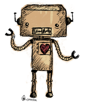 Cute Retro Robot by Emoeba