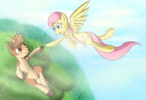 Willowtree and Fluttershy by Michinix