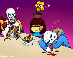 Dinner with skelebros and flowey by Rumay-Chian