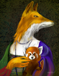 Fox with Red Panda by altergromit