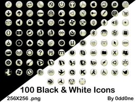 100 Black and White Icons by 0dd0ne