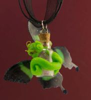 Green Pixie Dragon Pendant by The-GoblinQueen