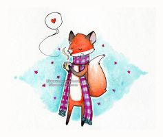 Cozy fox by Hikasawr