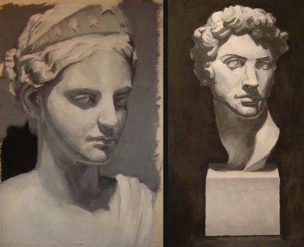 greyscale oil studies by Azhash