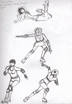 Roller Derby Sketches by ninjamitch