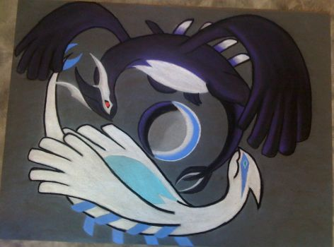 Yin and Yang - Lugia and Shadow Lugia by Raven-Shinda