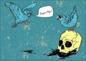 A couple of birds and a skull by sampratot