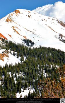 Red Mountain Covered In Snow by DamselStock