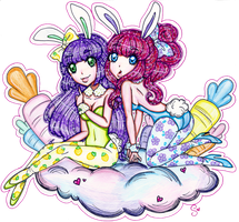 Lila and Bonbon Bunnies [ART TRADE] by sekaiichihappy