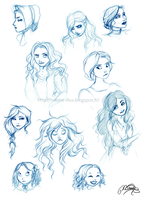 Girls' faces doodles by MarineElphie