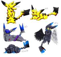 All of my Pokesona - After and Now by pikachu-jaune