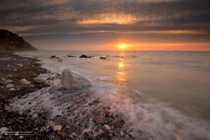 Chalk coastline sunset by matthieu-parmentier
