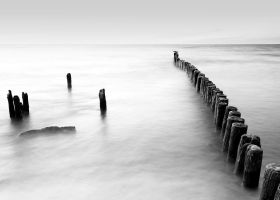 Night landscape with groynes by RafalBigda