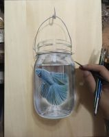 Betta Fish In Jar In Progress by ivanhooart